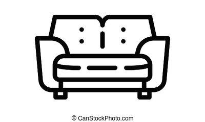 sofa, icône, animation