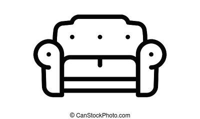 sofa, icône, luxe, animation