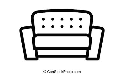 sofa, icône, moderne, animation