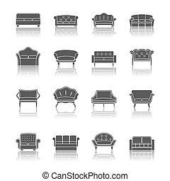 Sofa icon black