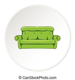 Sofa icon, cartoon style