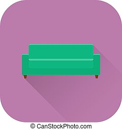 Sofa icon. Flat design with long shadow. Vector.