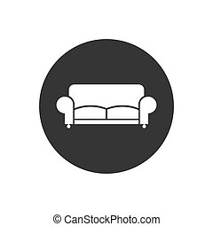 Sofa Icon. Furniture or Interior Element Illustration in Glyph Style As A Simple Vector Sign Trendy Symbol for Design and Websites, Presentation or Mobile