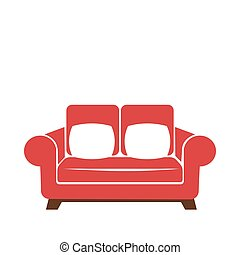 Sofa icon in red and white colors vector isolated illustration.