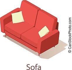 Sofa icon, isometric style.