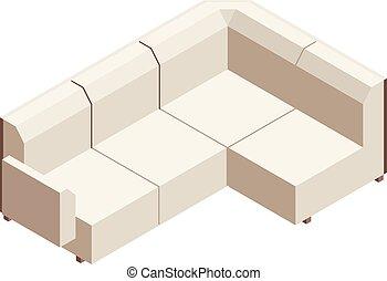 Sofa icon, isometric style