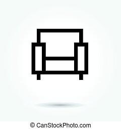 sofa icon, modern design web element on white background. logo