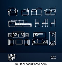 Sofa icon - Set of sofa line icons, vector illustration