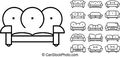 Sofa icon set, outline style