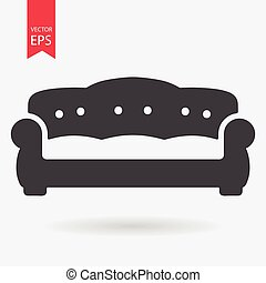 Sofa Icon Vector. Flat design. Simple sign isolated on white background.