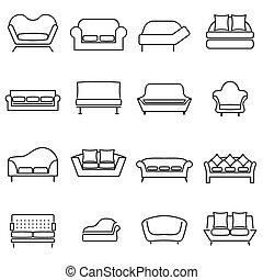 sofa, icons.