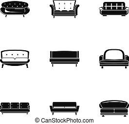 Sofa icons set, simple style