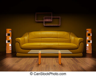 Sofa in a dark room