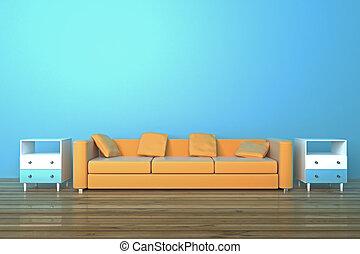 Sofa in blue room