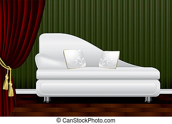 Sofa in front of a green wall