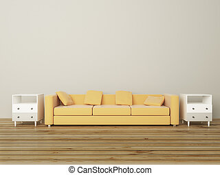 Sofa in grey room - Beige sofa and bedside-tables in grey ...