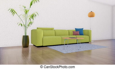 Sofa in minimalistic living room interior 3D - Green sofa...