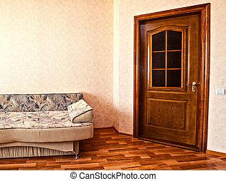 sofa in white room