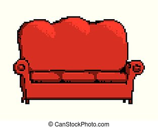 sofa, isolé, illustration, blanc, pixel, rouges