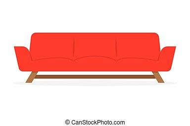 sofa, isolé, rouges