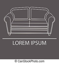 Sofa isolated on a black background. Banner. Logo laying on....