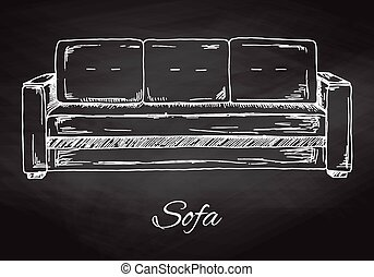 Sofa isolated on chalkboard. Vector illustration in a sketch...