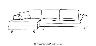 Sofa isolated on white background. Vector illustration in a sketch style.