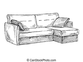 Sofa isolated on white background. Vector illustration in a sketch style
