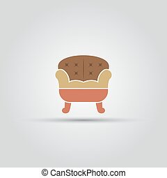 Sofa isolated vector colored icon