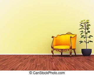sofa, jaune