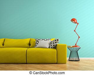 sofa, jaune, rendre, lampe, partie, intérieur, rouges, 3d