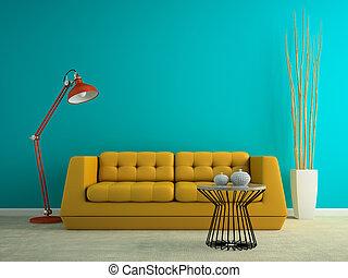sofa, jaune, rendre, partie, intérieur, 3d