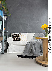 sofa, kamer, grijze
