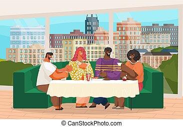 sofa, kawiarnia, albo, stół, posiedzenie, okno, restauracja, jedzenie, przyjaciele, cielna, picie