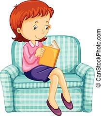 sofa, kobieta, książka, czytanie