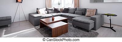 sofa, koffie, ontworpen, tafel