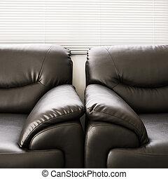sofa leather black furniture in living room