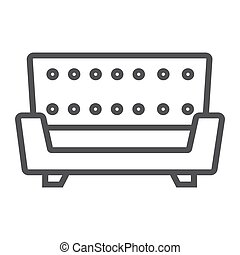 Sofa line icon, Furniture and interior element, couch vector...