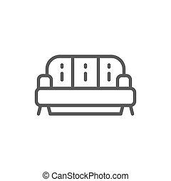 sofa, linie, freigestellt, hintergrund, weißes, icon.
