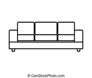 sofa, livingroom, confortable, icône, forniture