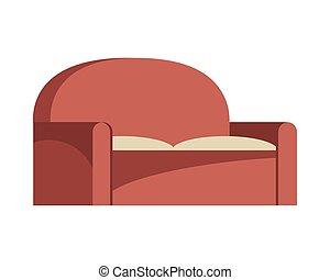 sofa, livingroom, icône, isolé, forniture