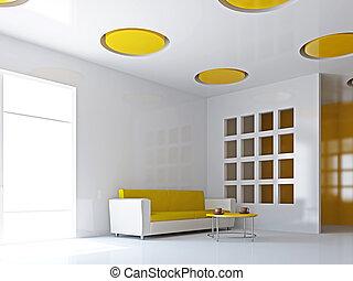 sofa, livingroom, jaune