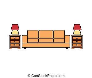 sofa, livingroom, lampes, tiroirs, forniture