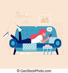 sofa, mensonge, femme, jeune, bavarder
