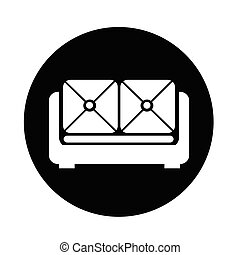 sofa, meubles, icône