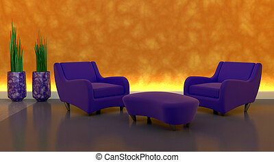 sofa, moderen, monture, contemporain