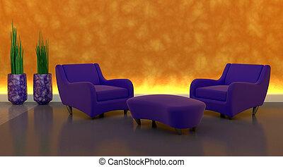 sofa, moderen, vatting, tijdgenoot