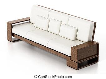 sofa, modern, freigestellt, abbildung, hintergrund., weißes, 3d