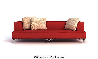 sofa, moderne, 3d, vertolking