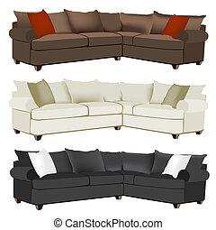 sofa, moderne, bankstel